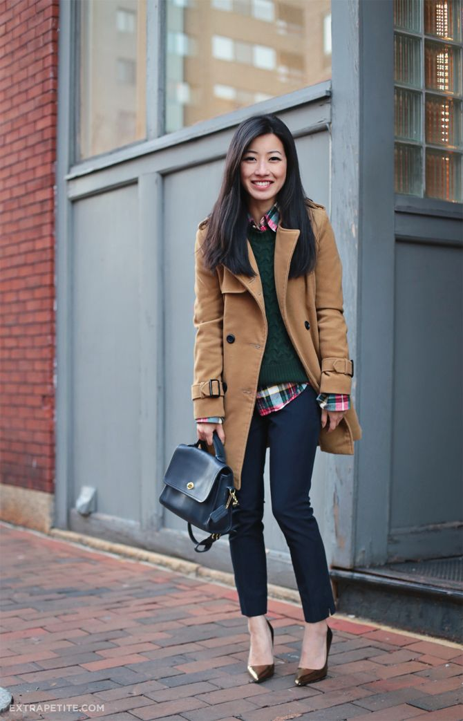 Camel coat + hunter green sweater + tartan shirt and skinny jeans | Extra Petite