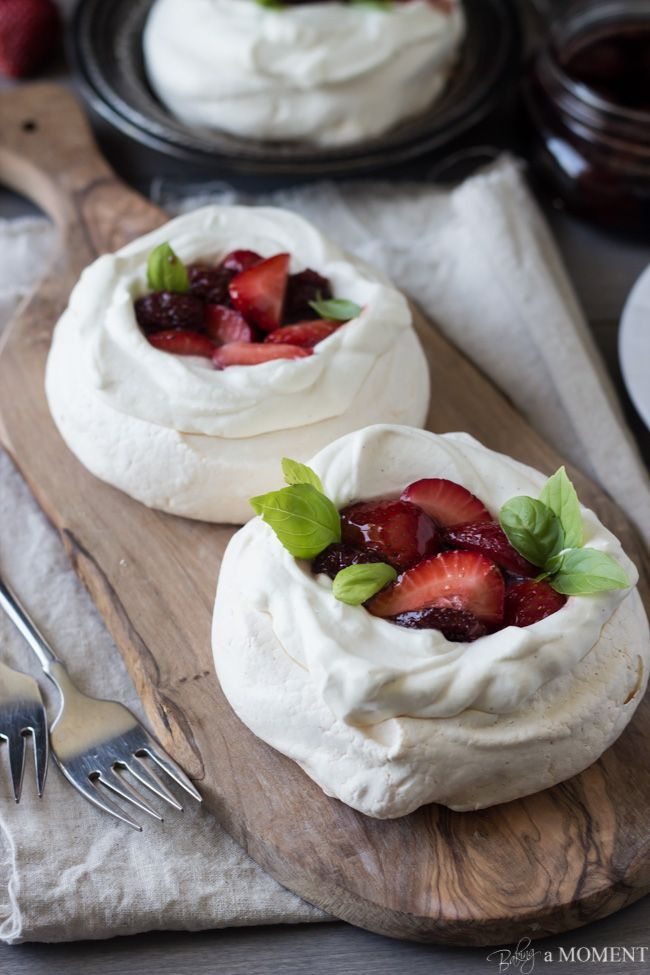 Pavlovas with Strawberries and Balsamic