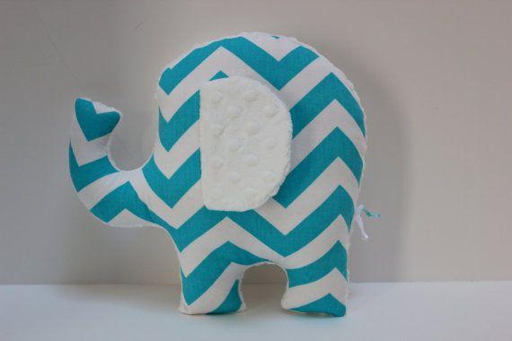 Aqua baby nursery Elephant pillow decor - turquoise chevron - minky