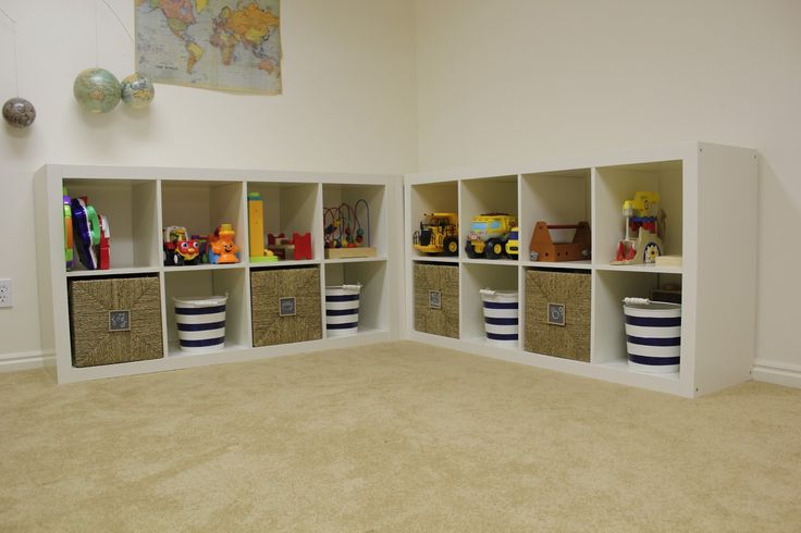 kids shelves With Baskets | also got 4 Knipsa Baskets from Ikea that fit perfectly in the spaces ...