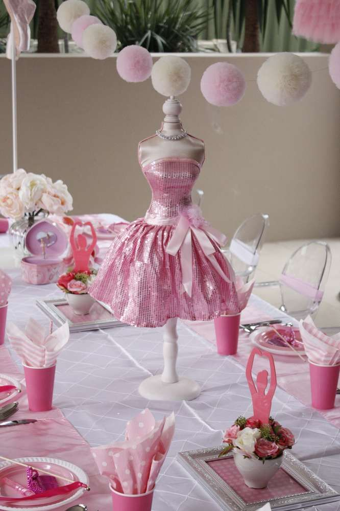 Pretty table decor at a ballerina birthday party! See more party planning ideas at CatchMyParty.com!