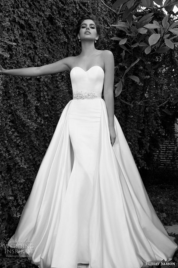 • Elihav Sasson wedding dress 2015 strapless sweetheart neckline attached train at waist clean sheath gown with belt •