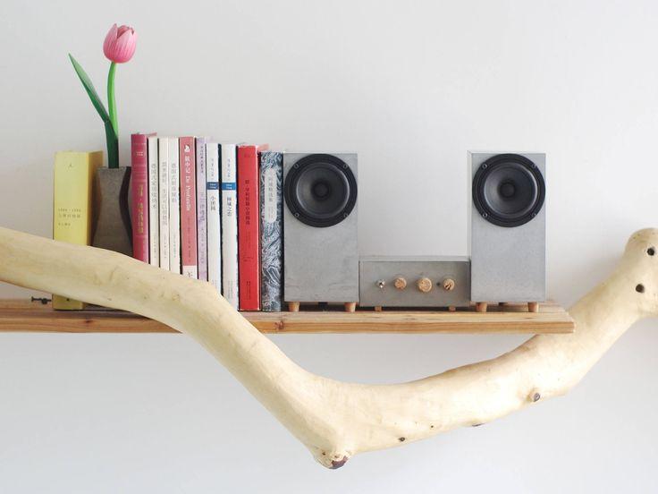 2 Way Coaxial Mini Concrete Speakers, Set of Two Passive Speakers, Desktop Speakers by HomemadeHomeStudio on Etsy