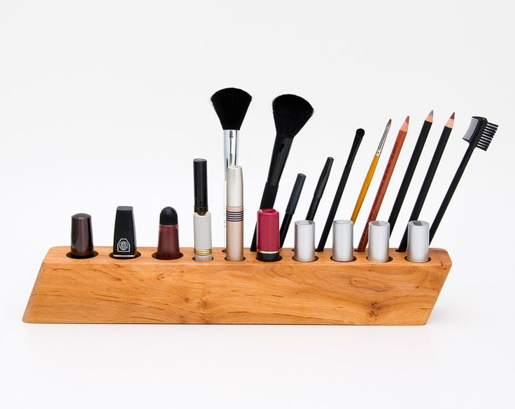 Makeup Organizer Cosmetic Organizer Wooden Makeup Brush Holder BIG SCARLETT Y. $140.00, via Etsy.