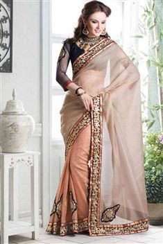 Cotton, Velvet Beige Superior Stylish saree
