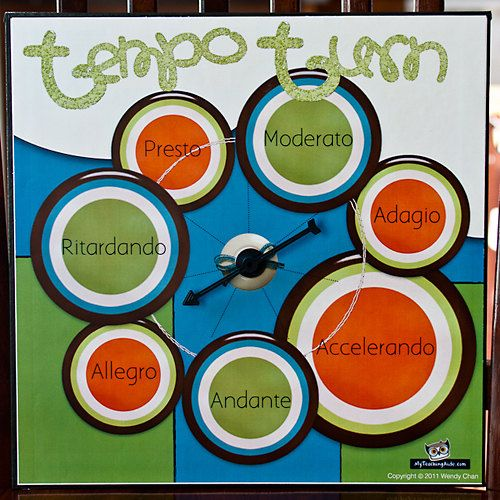 Use this fun tempo spinner to decide how students should sing a song, dance or play a passage of music. Great for reinforcing tempo terms, students will never forget what these term mean.    Ideas for use: For movement, create game cards for fun and wacky activities. Example: How do you snap your fingers? The tempo spinner can help you decide.   Sing songs in a variety of tempi. Making this!
