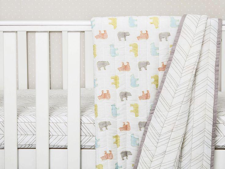 'Curious Bear' Organic Quilted Blanket  #BabyBlanket #GenderNeutral #BabyShowerGift  #OrganicCottonBabyBlankets #OrganicBabyBlankets #Swaddle