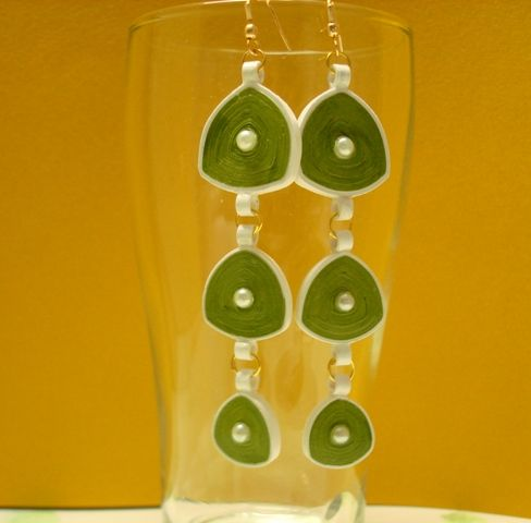 Green and white hanging earrings
