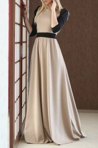 Charming Round Collar Color Block Half Sleeve Maxi Dress For Women