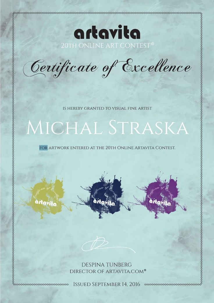 """""""Certifikate of Excellence"""" in 20th online artavita contest."""
