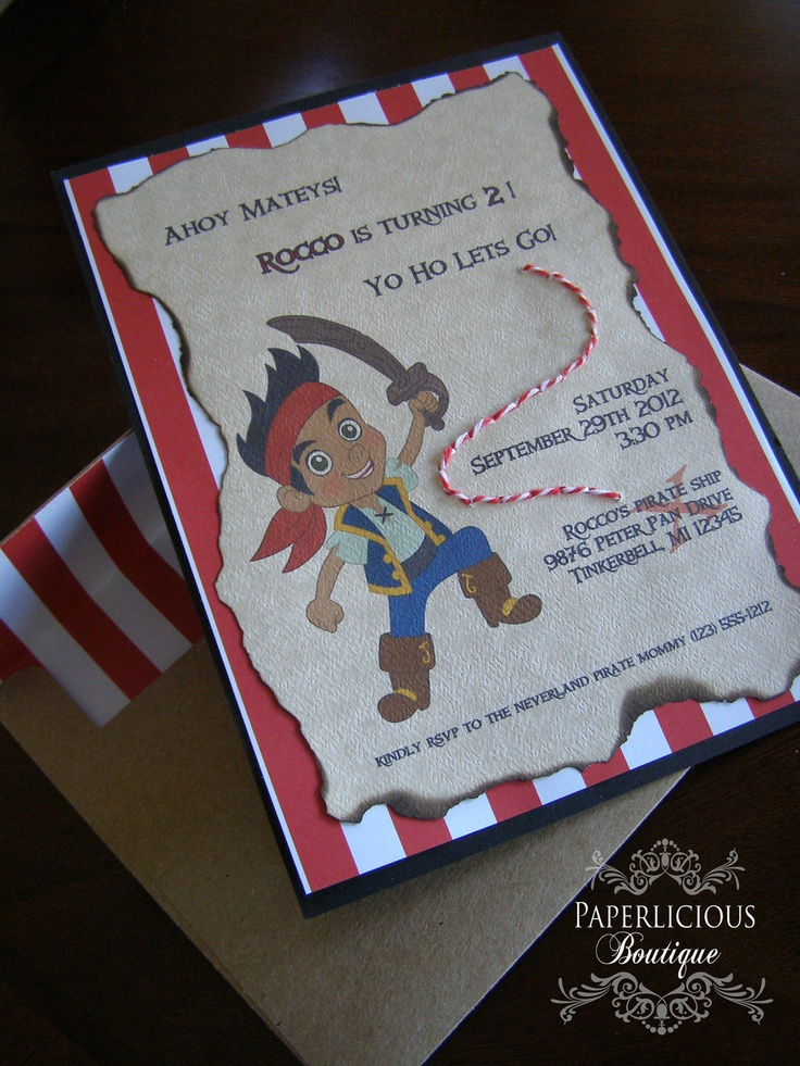 Jake and The Neverland Pirates Invitation by PaperliciousBoutique