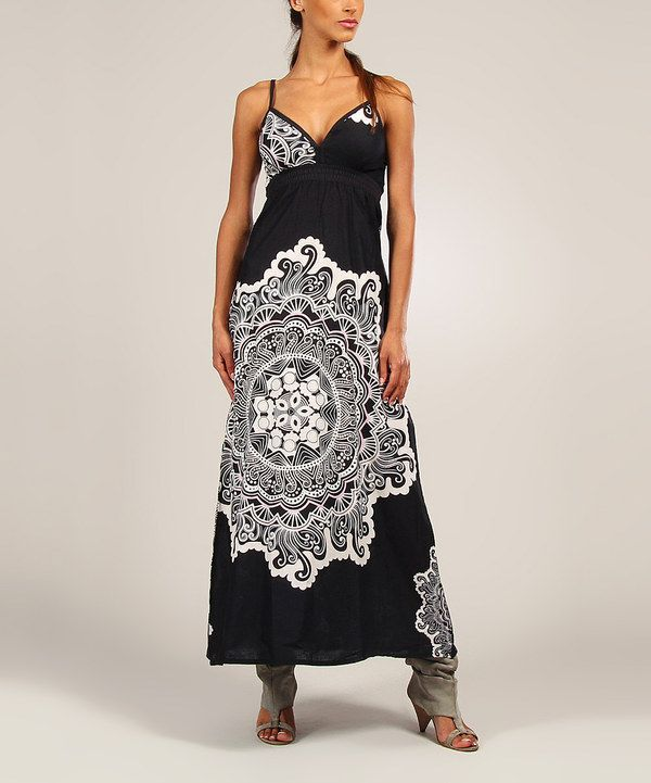 Look at this Black & White Scarf Print Maxi Dress on #zulily today!