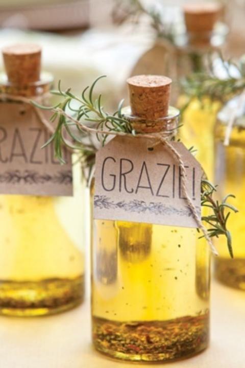 Infused olive oil favors #oliveoil #weddingfavors #farmtotablewedding