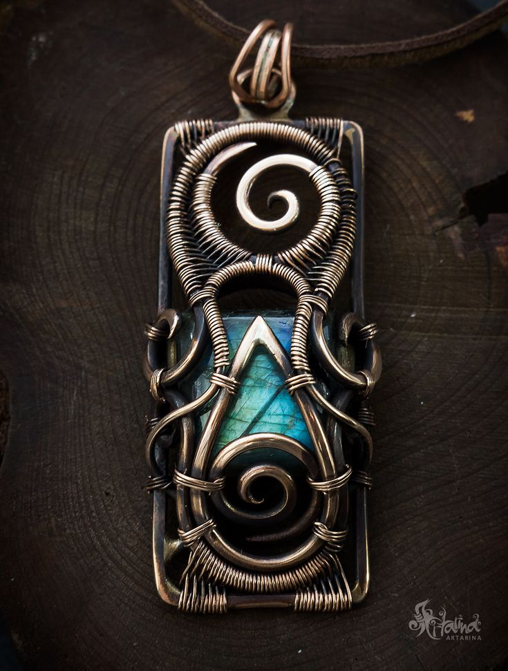Bronze wire wrapped #pendant with flashy labradorite
