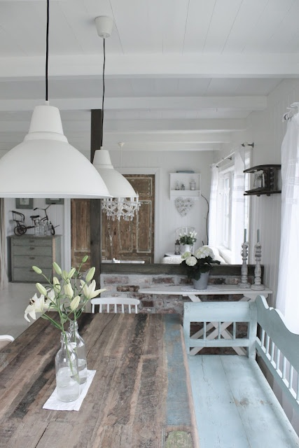 distressed timber and white walls
