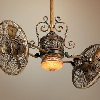 ~ Steampunk Fan ~ Our new house has a double fan like this - Andrew is jonesing to mod it!