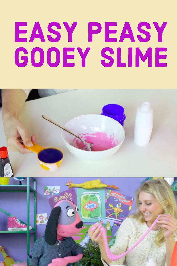 Easy Peasy Gooey Slime recipe for kids. 3 ingredients NO BORAX. Cute how to video tutorial for kids. Great step-by-step instructions