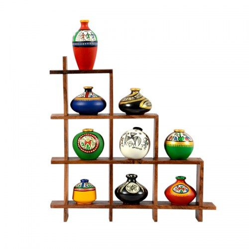 ExclusiveLane 9 Terracotta Warli Handpainted Pots With Sheesham Wooden Frame Wall Hanging - Decoratives by ExclusiveLane for Beeja