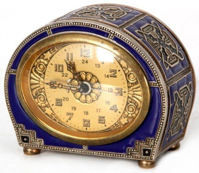 Deco Enamel Alarm Clock - Antique Clocks