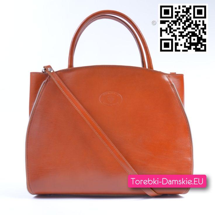 Pojemna torba damska Vera Pelle Made in Italy (czyli wykonana z naturalnej skóry). Stylowa, praktyczna, w pięknym kolorze naturalnej skóry #torebka