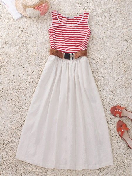 Red White Round Neck Sleeveless Striped Cotton Dress: Neck Sleeveless, Red Stripes, Beaches Dresses, Round Neck, Cotton Dresses, Stripes Cotton, Sleeveless Stripes, Sun Dresses, Red White