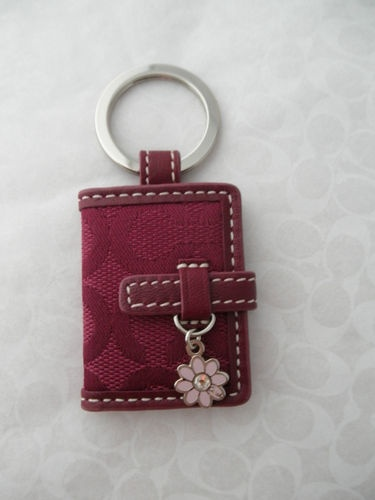 COACH Signature Picture Frame Book Keychain with Flower Charm in Purple