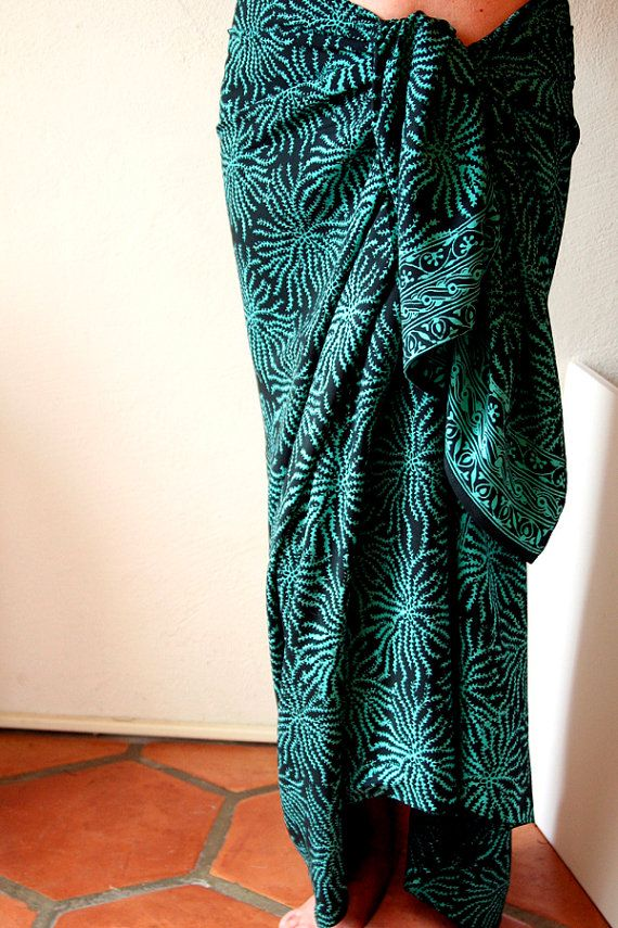 Teal and Black Sea Anemone Sarong  Batik Pareo  Women's Clothing by PuaWear, $39.00
