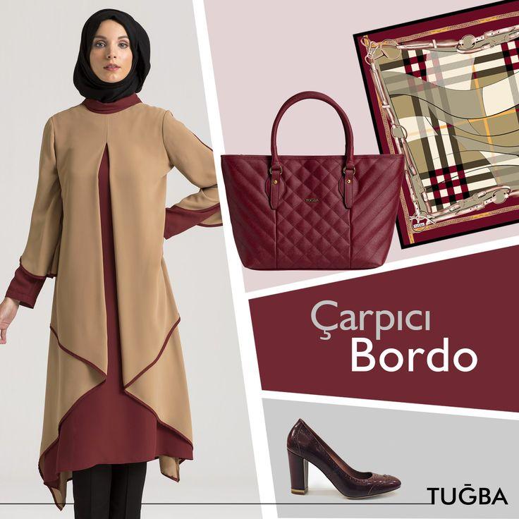 Bordo ve camel renginin eşsiz,göz alıcı buluşması! #Tuğbavenn #tesettür #fashion #moda #kaban #manto #ipek #eşarp #ipekeşarp #hijab #hijabfashion #streetstyle #style #çanta #tunik #bordo #şal