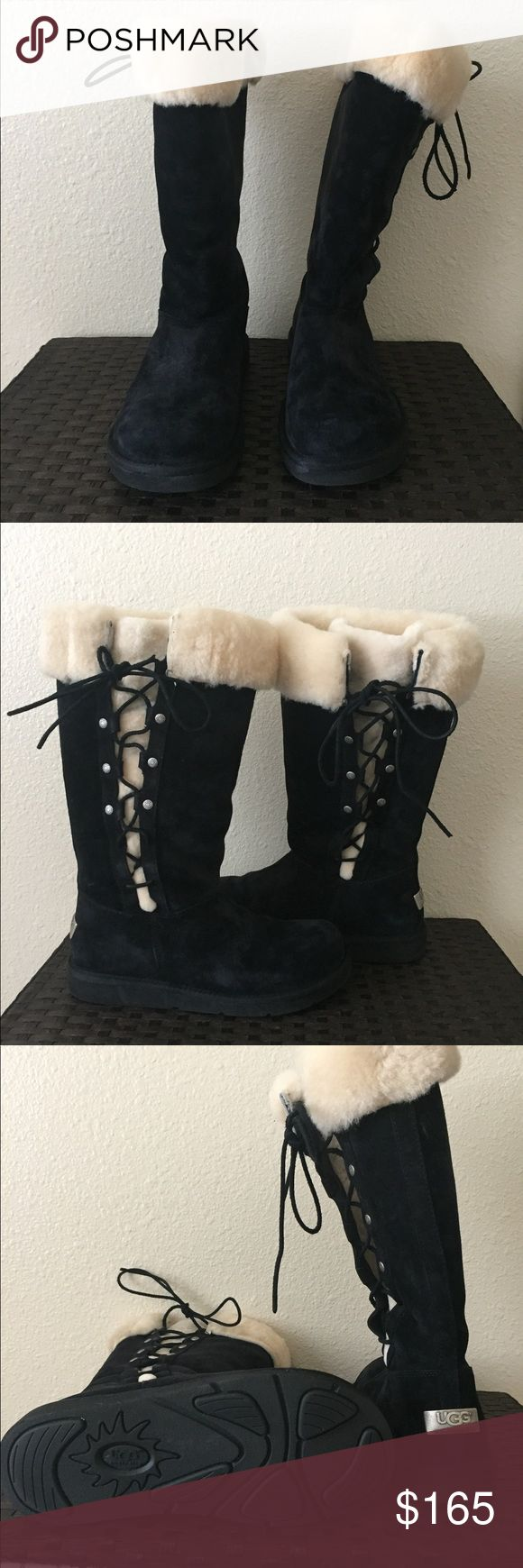 Gorgeous Ugg boots Gorgeous Ugg boots! Just in time for winter! These boots have only been worn twice!! Kept in a nice plastic shoe box. Tiniest black leather from laces rubbed onto faux fur. Don't miss out on this great deal! UGG Shoes Lace Up Boots