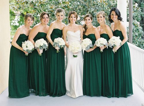 i love the hunter green bridesmaid dresses