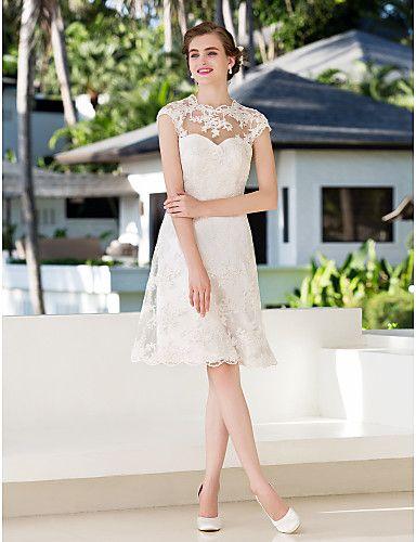 Lanting Bride A-line Petite / Plus Sizes Wedding Dress-Knee-length Jewel Lace 2016 - $104.49