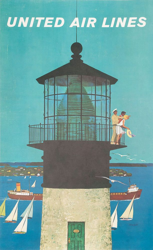 New England, United Air Lines. Lighthouse Travel Poster