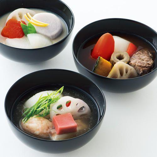 瓢亭15代目主人 高橋義弘さんによる、椀を進化させたスープ。鯛に生麩や九条ねぎ、牛肉に赤みそ、京野菜には白みそと、和素材を巧みに使いつつ類を見ない味わいが誕生しました。