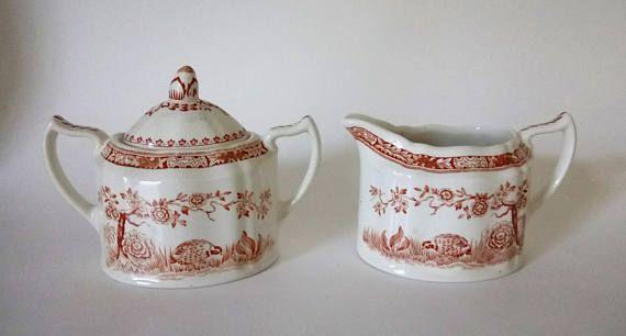 Antique Vintage Furnivals Quail Brown Creamer Sugar Bowl Set