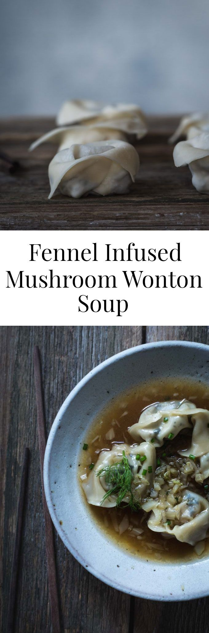 Make without tofu and soy sauce......This vegan Fennel Infused Mushroom Wonton Soup is simple. But with a fennel, slightly peppery broth and delicate mushroom wontons it's also a little special.