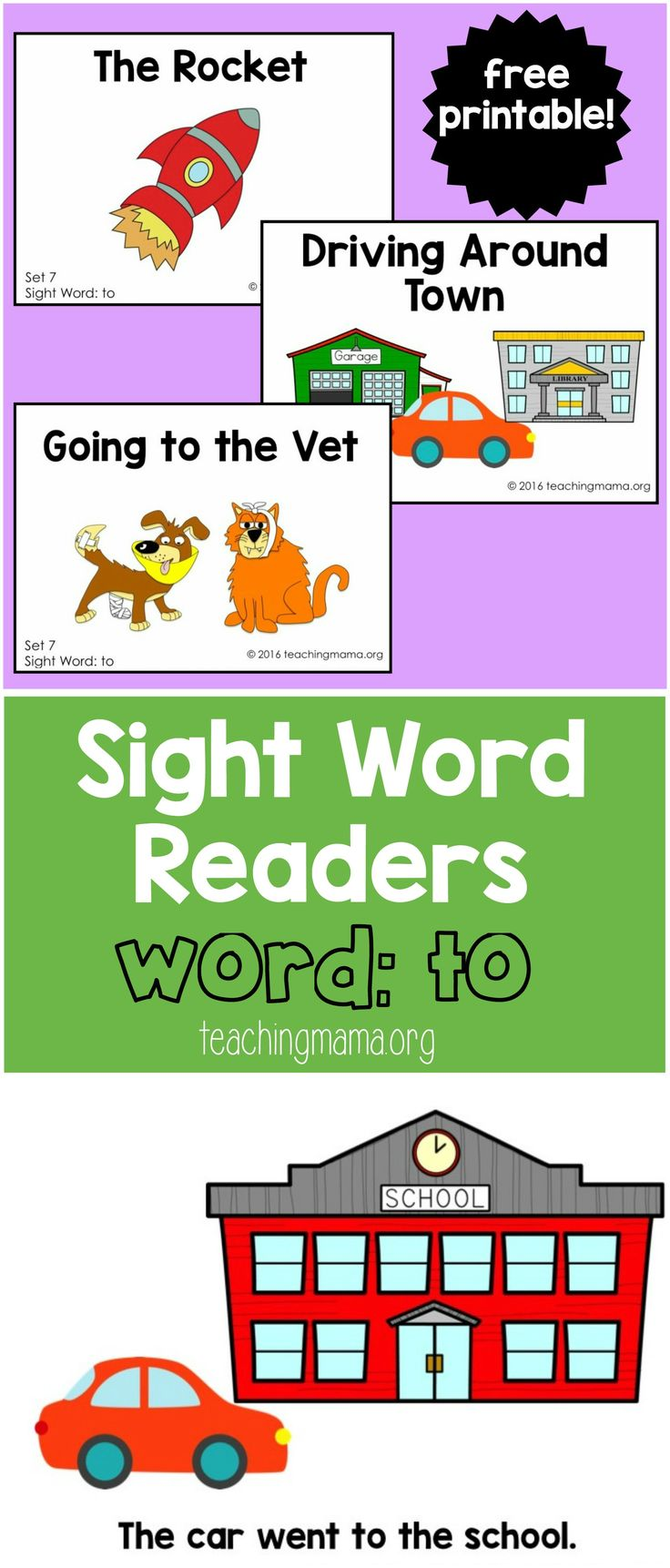 Sight Word Readers Word To (free printable)