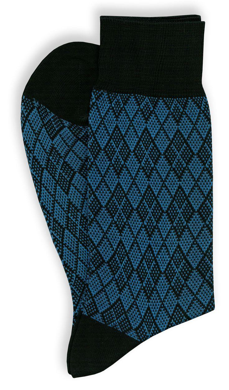 4 paia di calze corte da uomo in filo di scozia, rombi jacquard