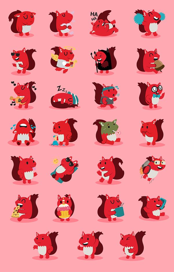 Vodafone Squirrel Stickers by Clare Stamper! We think Clare (@bakura240) is such an animal lover after checking her work! These squirrels are Nuts!
