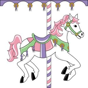 Carousel Horse Clipart Image: Pretty pink themed carousel horse on a circus ride