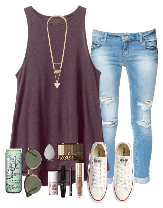 #spring #outfits / tank top + converse sneakers #casualsummeroutfits