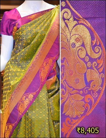 Classy green kanchipuram silk combined with purple border and zari motifs throughout the saree and border.