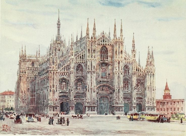 The Cathedral of Milan. Watercolour by William Wiehe Collins (1862-1951)
