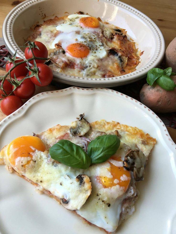 Low Carb Pizza Rezept mit Süßkartoffel – wenig Kalorien, kaum Kohlenhydrate und super lecker!