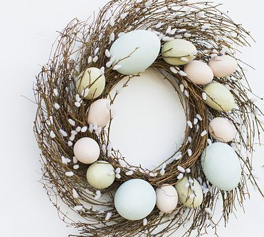Faux Pussy Willow Easter Egg Wreath #potterybarn ♡♥♡♥♡♥♡ I've always loved pussy willows ♡♥♡♥♡♥♡