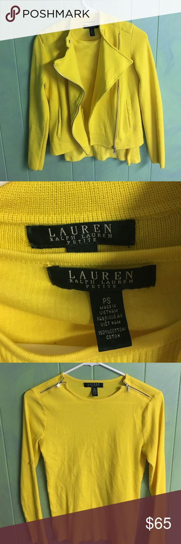 Two piece yellow cotton ensemble by Ralph Lauren. NWOT- 2 piece 100% cotton yellow ensemble featuring an inner vertically ribbed long sleeved undershirt with zippered top on each side. Outer jacket zippers in the front and can button at the top to keep out a chilly breeze. Beautiful bright yellow in perfect condition. Ralph Lauren Jackets & Coats Utility Jackets