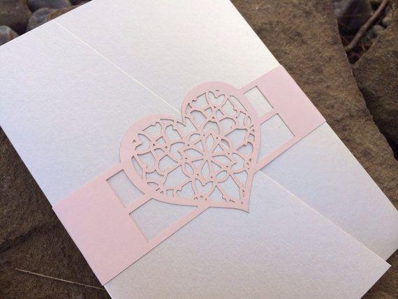 Pocket Invitation Wrap or Closure, Heart Wrap, Monogram Tag, Napkin Wrap, Program Wrap, Love, Laser Cut on Etsy, US$1,65