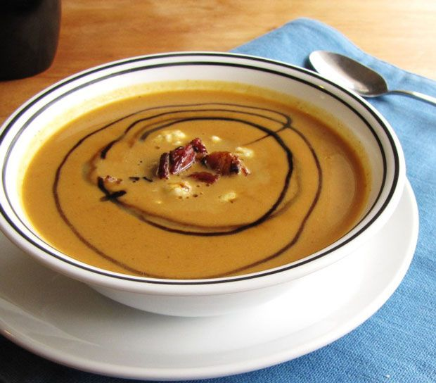 Pumpkin Soup with Bacon and Blue Cheese Recipe - RecipeChart.com