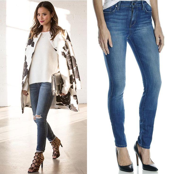 Джейми Чунг (Jamie Chung – американская актриса) была замечена в узких джинсах Joe's, которые она сочетала с пальто Dolce & Gabbana и свитером Maje. Нейтральные джинсы в данном случае выступают фоном для более яркого пальто.  JiST предлагает похожие скинни Joe's, только без рваностей на коленях, т.к. дело близится к зиме. А вот посадка такая же идеальная, что является одним из преимуществ бренда.