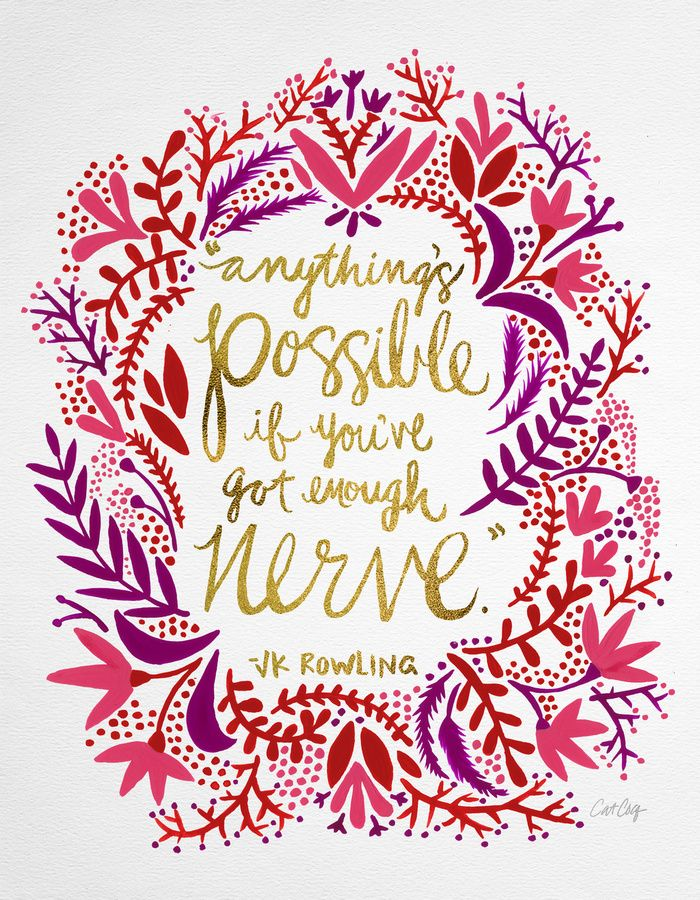 Anything's Possible – Gold & Red Art Print #Society6 #art #print #typography #lettering #quote #jkrowling
