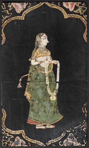 A lady holding a garland: a fragment from a picchavai Deccan, 18th Century